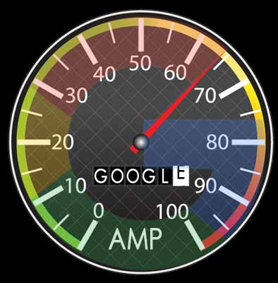 Spedometer with Google AMP text