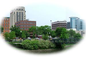 View of Kalamazoo Michigan from river